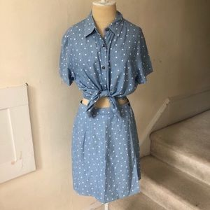 Vintage Retro Two Piece Polka Dot Skort Set EUC